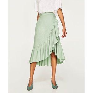 Zara seafoam green ruffle wrap midi skirt